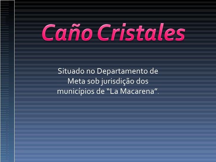 """Situado no Departamento de Meta sob jurisdição dos municípios de """"La Macarena"""" ."""