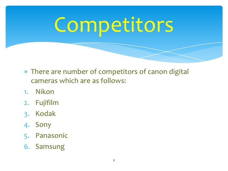 marketing mix analysis of canon digital slr marketing essay The report is divided into six parts which are as follow • introduction to canon • situation analysis • marketing objective • marketing plan • marketing budget • conclusion introduction section focuses on the opening to the company, its business, financial overview, market share and competitors.