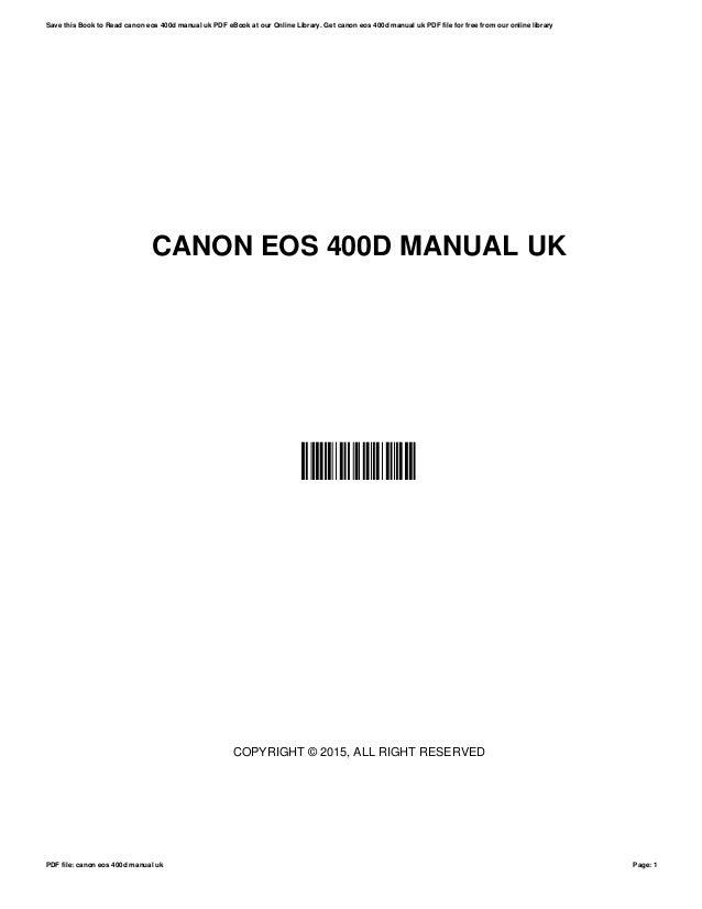 Canon eos 400d digital slr camera service manual & fix guide.