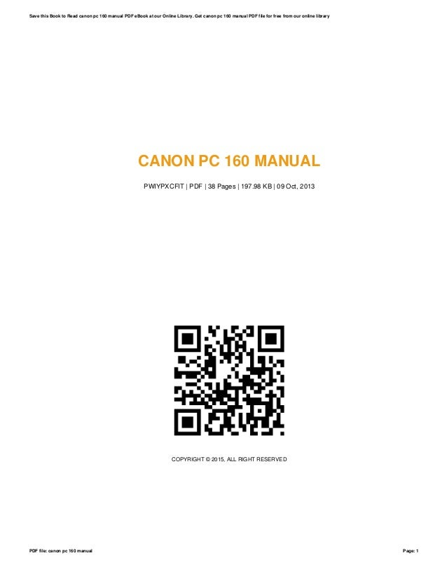 Canon pc-160-manual