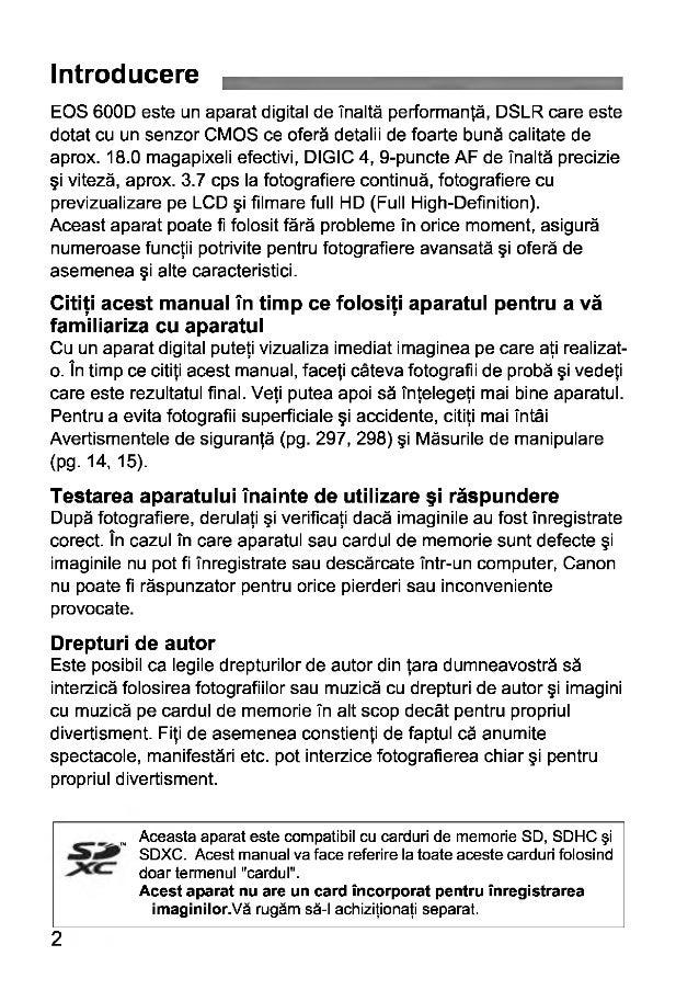 Canon eos 600d Manual de Utilizare in Limba Romana Slide 2