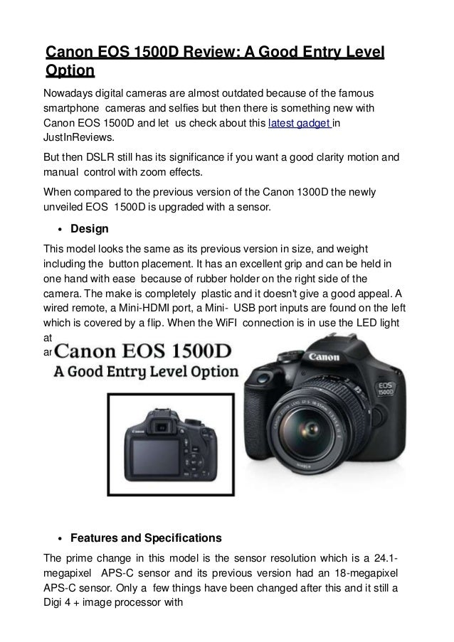 Canon eos 1500 d review a good entry level option