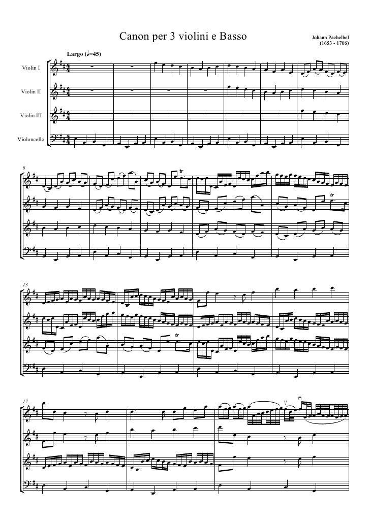 Canon per 3 violini e Basso                                                         Johann Pachelbel                      ...