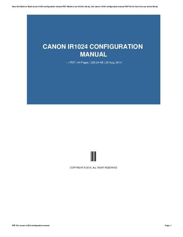Canon ir1024i manual