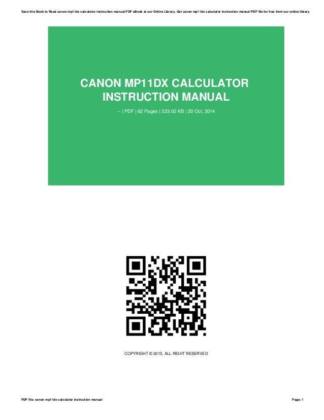 canon mp11dx calculator instruction manual rh slideshare net Canon Mp20dhii Ribbon Canon Calculator MP11DX Ink Ribbon