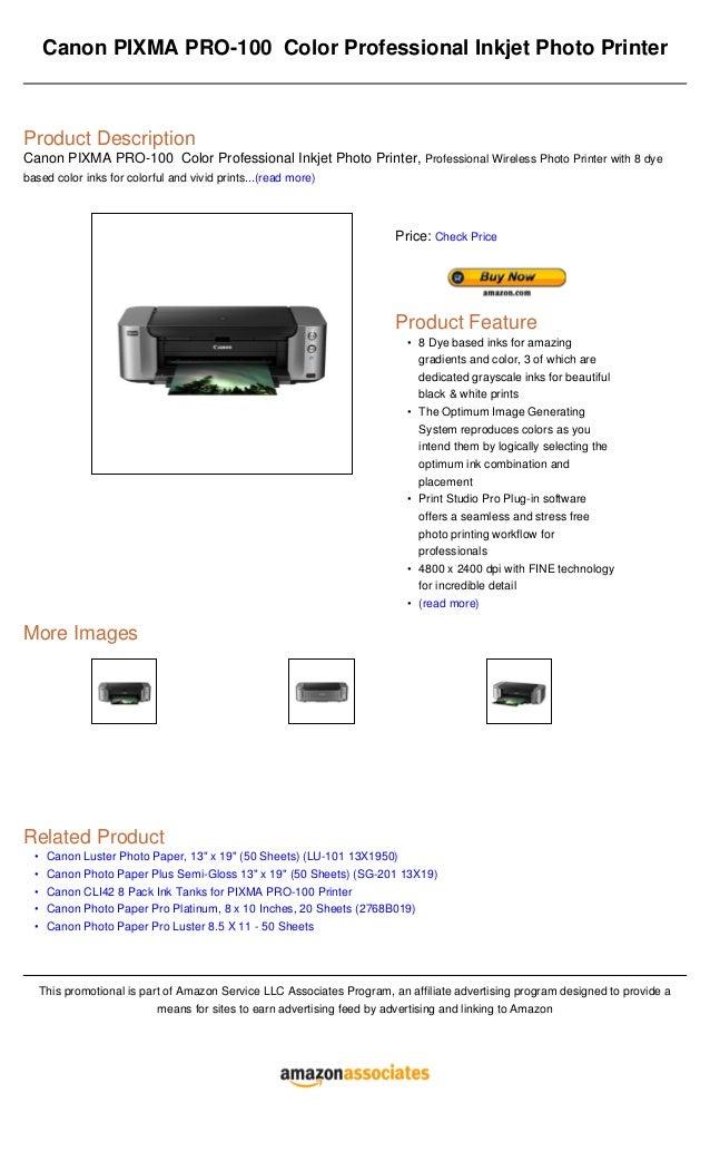 Canon Pixma Pro 100 Color Professional Inkjet Photo Printer