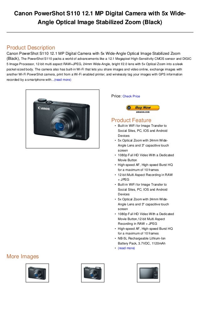 Canon PowerShot S110 121 MP Digital Camera With 5x Wide Angle Optical Image Stabilized Zoom