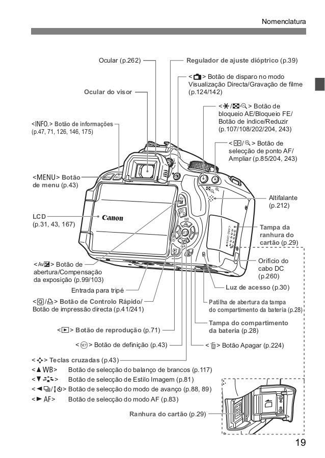 Manual Câmera Canon EOS 600D t3i