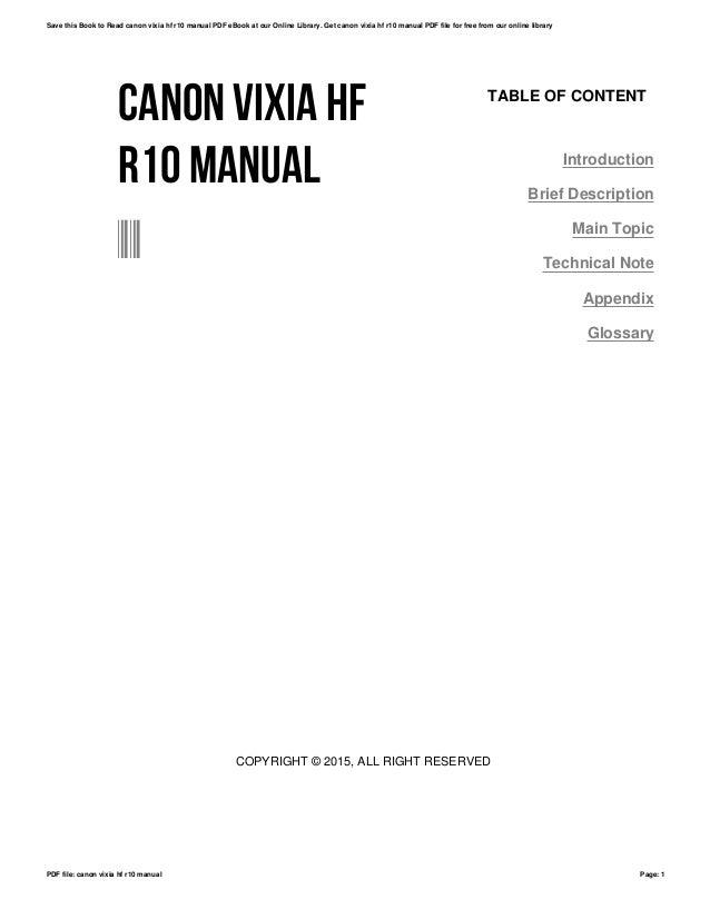 Canon vixia hf r10 manual