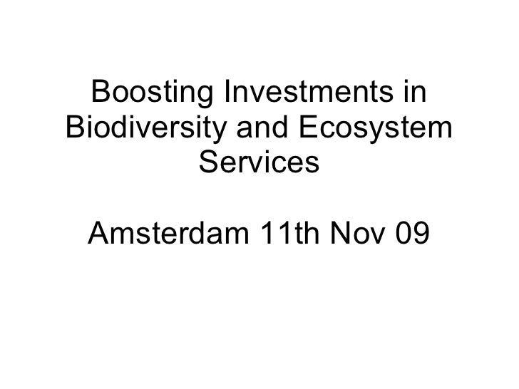 Boosting Investments in Biodiversity and Ecosystem Services Amsterdam 11th Nov 09