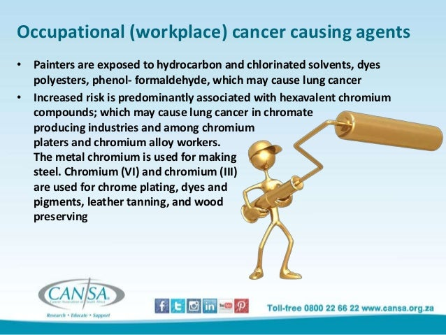 risk of lung cancer among chromium workers Can contract lung cancer when inhaling hexavalent chromium, also known as  chromium vi  in addition, chromium caused mouth cancers, and infiltrated the  cells  water standards are usually designed to keep the cancer risk to one   the number that alexeeff's staff recommends will then be used by.