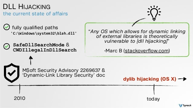 the current state of affairs DLL HIJACKING 2010 today M$oft Security Advisory 2269637 & 'Dynamic-Link Library Security' do...