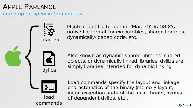 some apple specific terminology APPLE PARLANCE Mach object file format (or 'Mach-O') is OS X's native file format for executa...