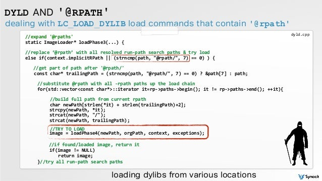 dealing with LC_LOAD_DYLIB load commands that contain '@rpath' DYLD AND '@RPATH' //expand  '@rpaths'   static  Image...
