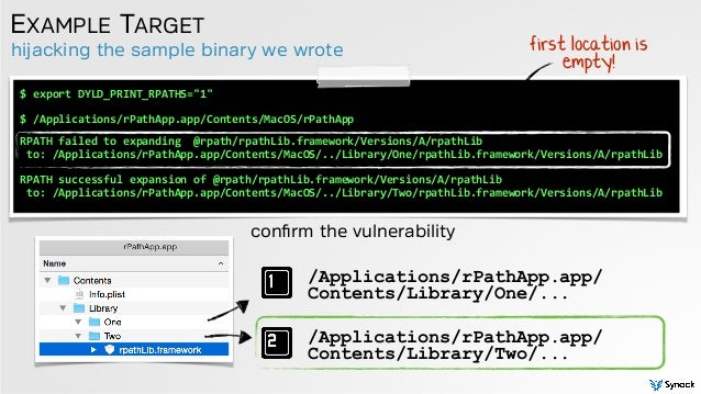 """hijacking the sample binary we wrote EXAMPLE TARGET confirm the vulnerability $  export  DYLD_PRINT_RPATHS=""""1"""" $  /A..."""