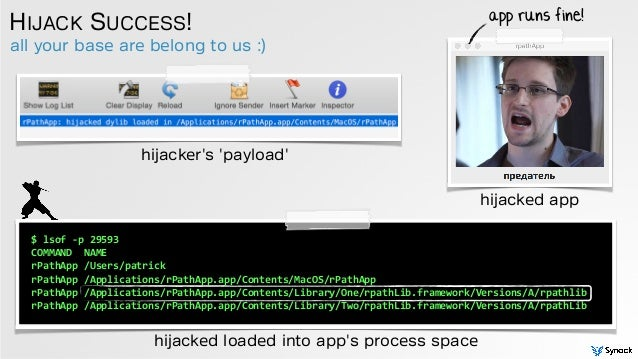 all your base are belong to us :) HIJACK SUCCESS! hijacked loaded into app's process space app runs fine! $  lsof  -‐...