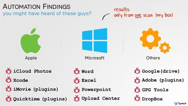 you might have heard of these guys? AUTOMATION FINDINGS Apple Microsoft Others iCloud Photos Xcode iMovie (plugins) Quickt...