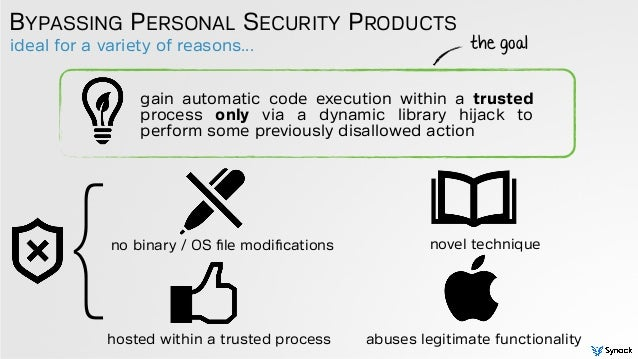ideal for a variety of reasons... BYPASSING PERSONAL SECURITY PRODUCTS gain automatic code execution within a trusted proc...
