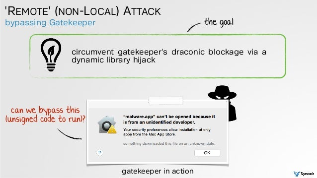 bypassing Gatekeeper 'REMOTE' (NON-LOCAL) ATTACK circumvent gatekeeper's draconic blockage via a dynamic library hijack th...