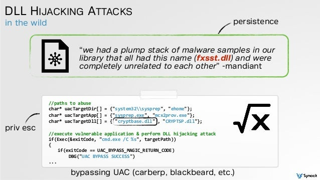 """in the wild DLL HIJACKING ATTACKS //paths  to  abuse   char*  uacTargetDir[]  =  {""""system32sysprep"""",  """"ehome..."""