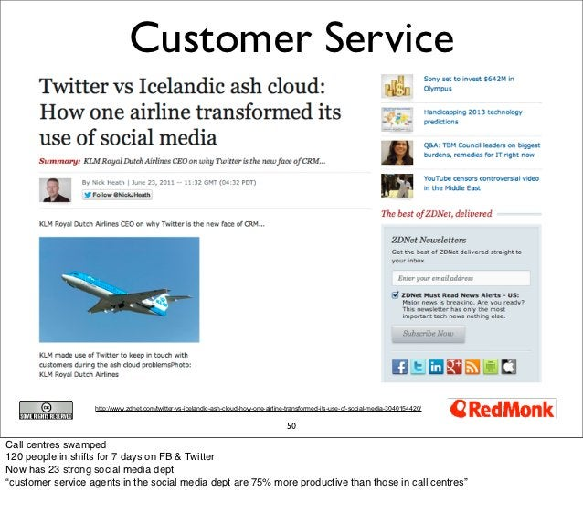 Customer Service                   http://www.zdnet.com/twitter-vs-icelandic-ash-cloud-how-one-airline-transformed-its-use...