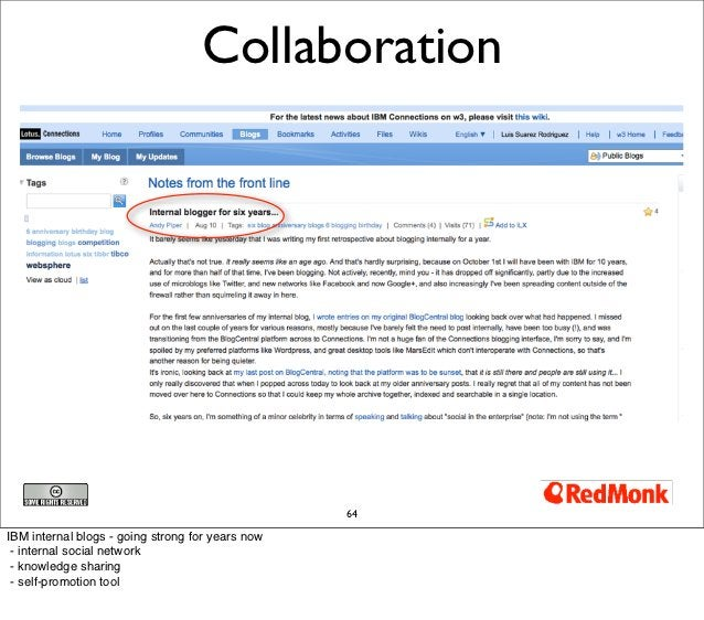 Collaboration                                                  64IBM internal blogs - going strong for years now - interna...