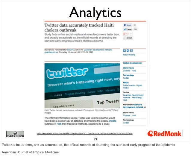 Analytics                        http://www.guardian.co.uk/global-development/2012/jan/12/haiti-twitter-tracked-cholera-ou...