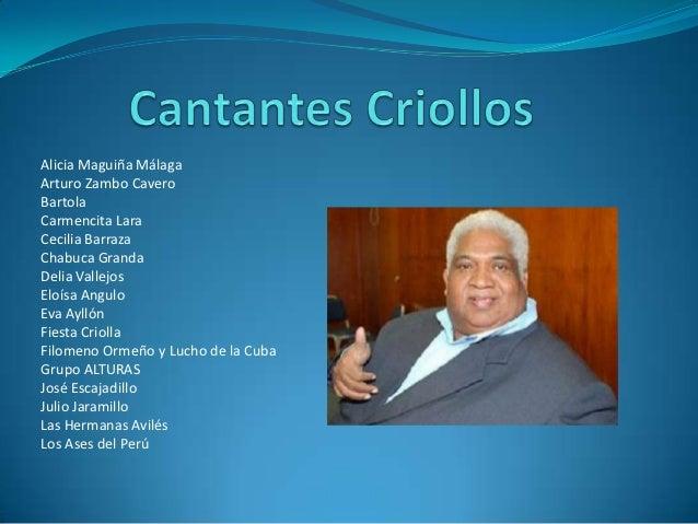 Alicia Maguiña MálagaArturo Zambo CaveroBartolaCarmencita LaraCecilia BarrazaChabuca GrandaDelia VallejosEloísa AnguloEva ...