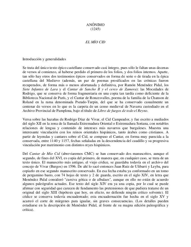 ANÓNIMO                                             (1245)                                          EL MÍO CIDIntroducción...