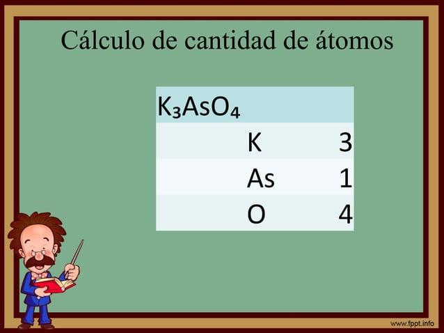 Cálculo de cantidad de átomos K₃AsO₄ K 3 As 1 O 4