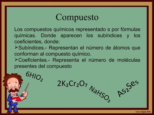 Compuesto 6HIO₂ 2K₂Cr₂O₇ As₂Se₅ NaHSO₃ Los compuestos químicos representado s por fórmulas químicas. Donde aparecen los su...