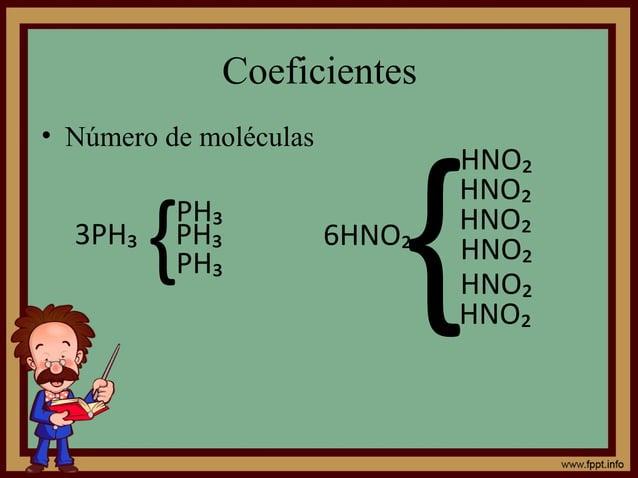Coeficientes • Número de moléculas 3PH₃ {PH₃ PH₃ 6HNO₂ { HNO₂ HNO₂ HNO₂ HNO₂ HNO₂ PH₃ HNO₂