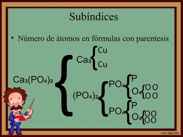 Subíndices • Número de átomos en fórmulas con parentesis Ca (PO )₃ ₄ ₂ Ca₃ {(PO )₄ ₂ { { Cu Cu O OPO₄ PO₄ { { P O₄ P O₄ {O...