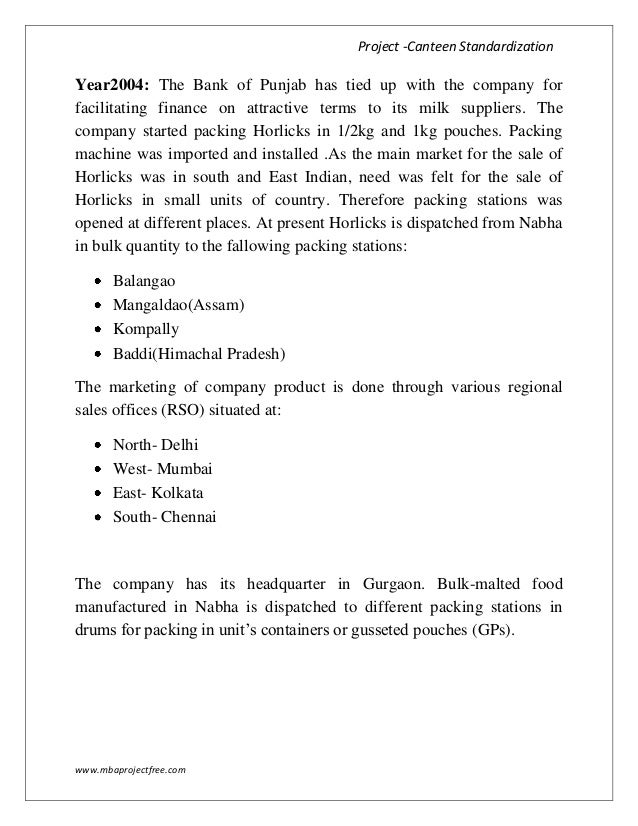horlicks project report All employees of third parties are encouraged to report  projects in  partnerships with care, icddr,b and  our flagship brand horlicks has.
