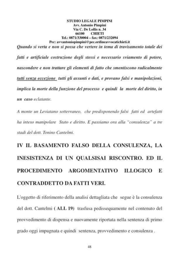 Cantelmi il consulente PARTE QUARTA DEL RICORSO IN CONSIGLIO DI STATO