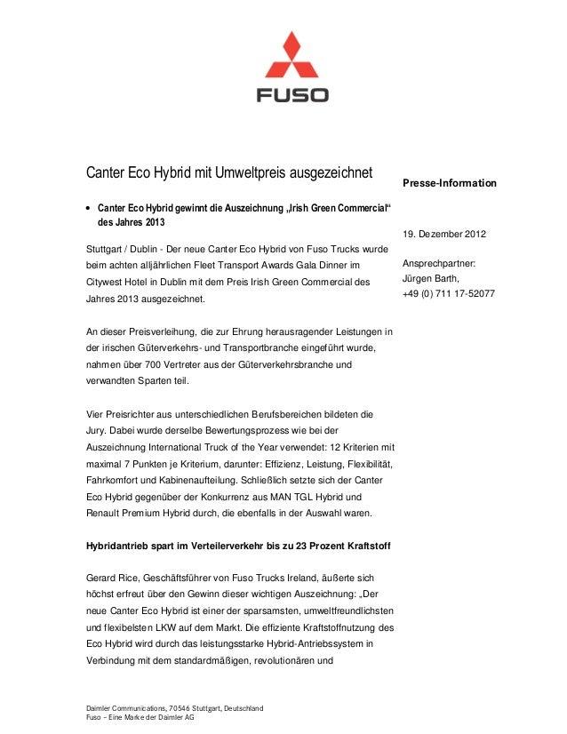 Canter Eco Hybrid mit Umweltpreis ausgezeichnet                                                                           ...