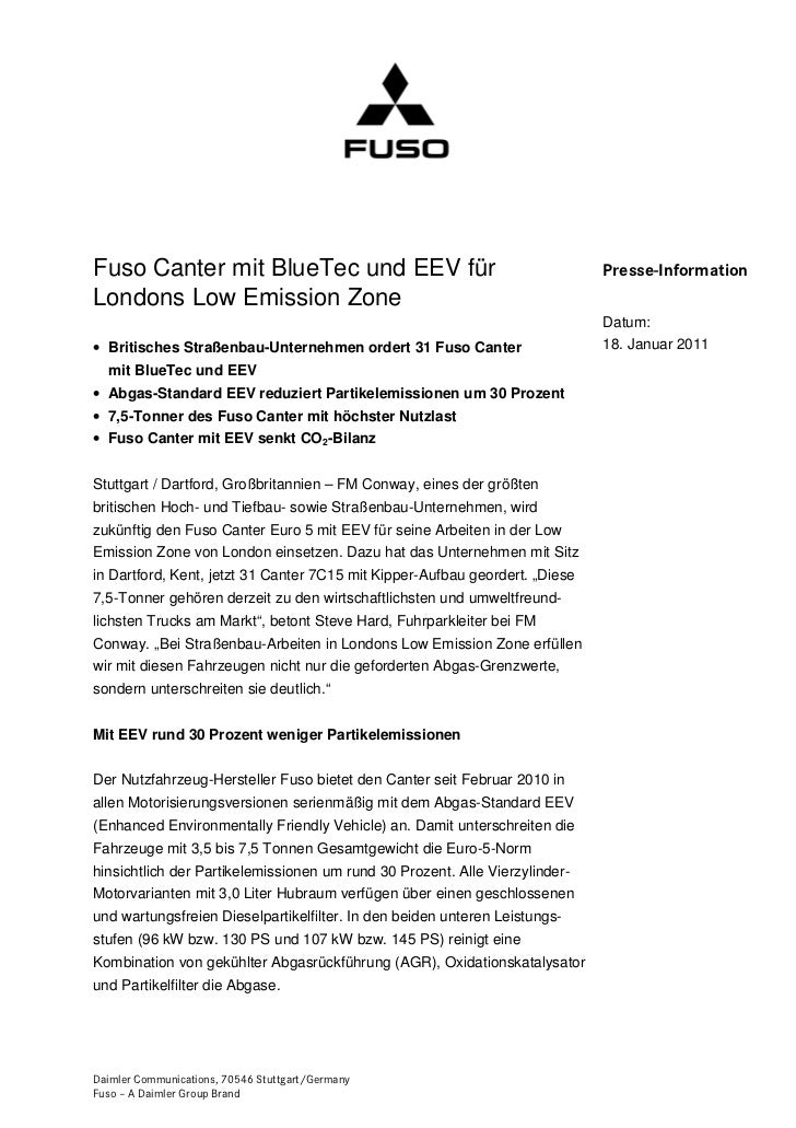Fuso Canter mit BlueTec und EEV für                                          Presse-InformationLondons Low Emission Zone  ...