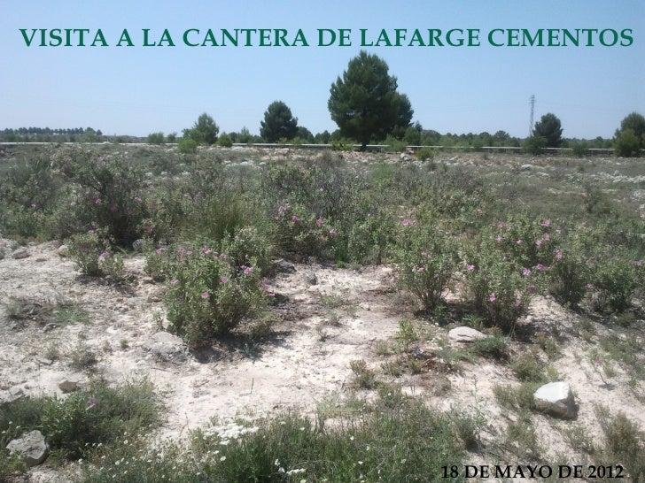 VISITA A LA CANTERA DE LAFARGE CEMENTOS                          18 DE MAYO DE 2012