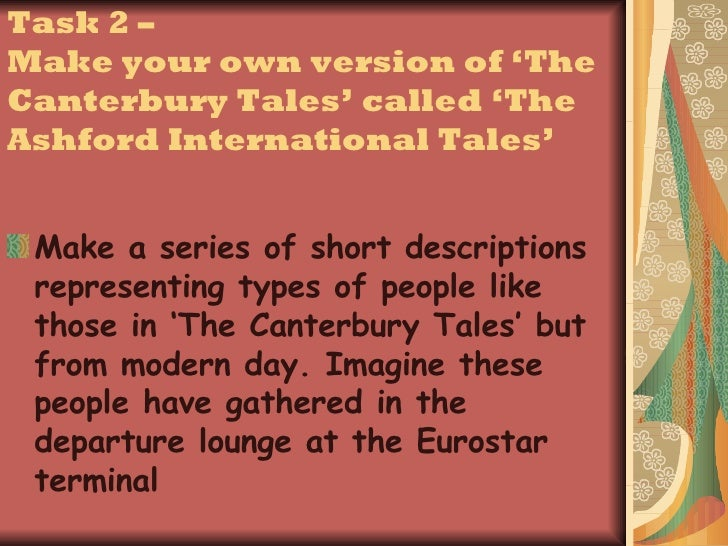 a comparison of the canterbury tales characters and modern day characters Canterbury tales project directions casting of the canterbury tales cast the pilgrims using modern-day with this character for characters whose tales you.