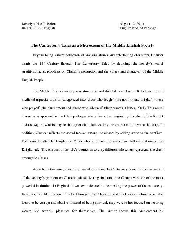 Rosielyn Mae T. Bolon III-13HC BSE English  August 12, 2013 EngLit/ Prof. M.Papango  The Canterbury Tales as a Microcosm o...