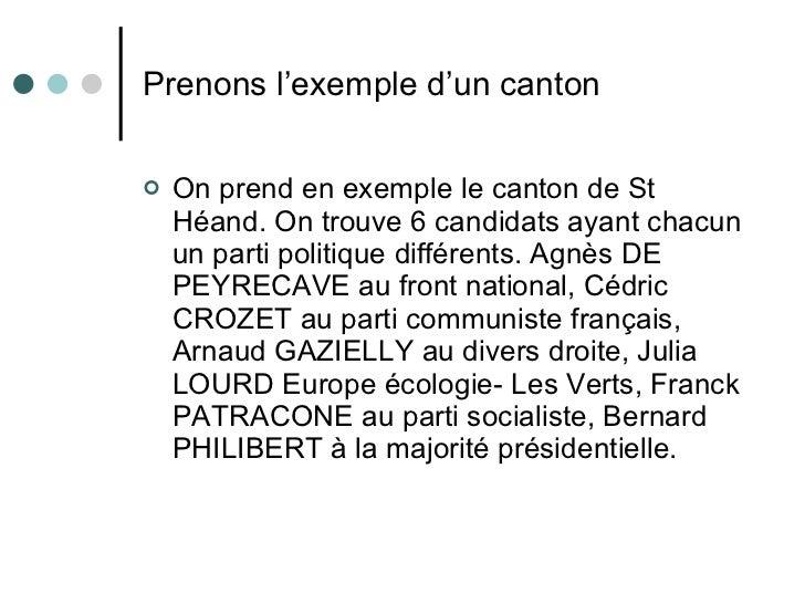 Prenons l'exemple d'un canton <ul><li>On prend en exemple le canton de St Héand. On trouve 6 candidats ayant chacun un par...
