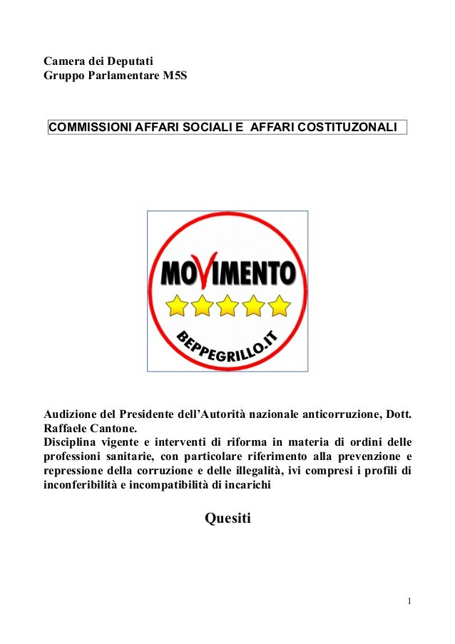 Quesiti m5s a cantone su ordini professionali for Camera dei deputati commissioni