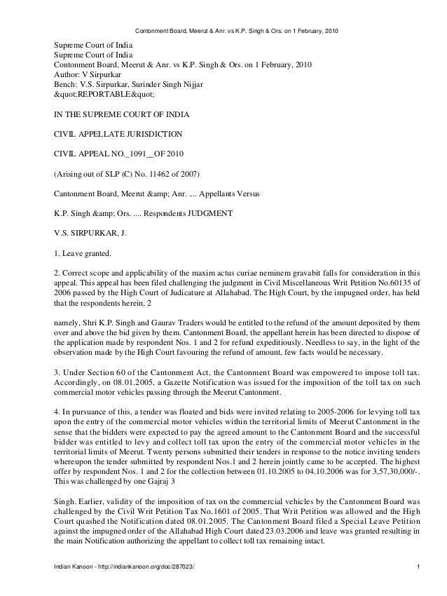 Contonment Board, Meerut & Anr. vs K.P. Singh & Ors. on 1 February, 2010Supreme Court of IndiaSupreme Court of IndiaConton...