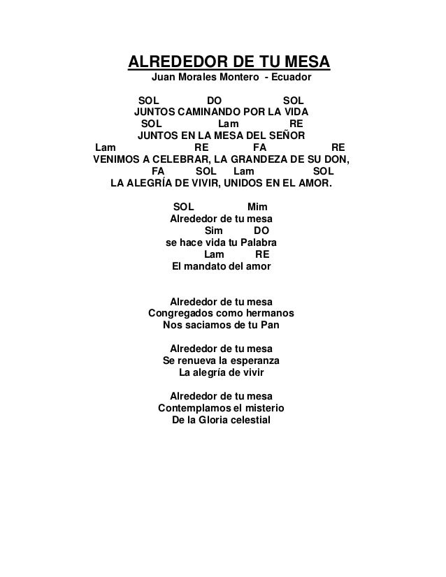 Cantoral de entrada con acordes 2016 for Alrededor de tu mesa