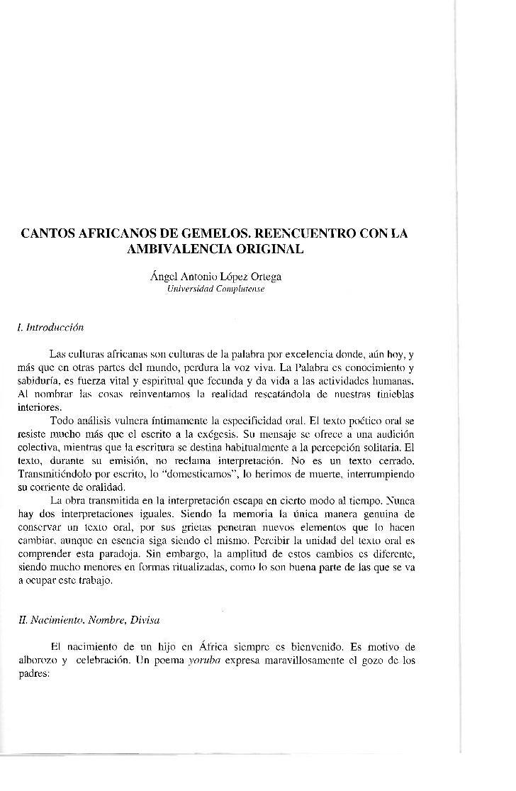 CANTOS AFRICANOS DE GEMELOS. REENCUENTRO CON LA             AMBIVALENCIA ORIGINAL                              Ángel Anton...
