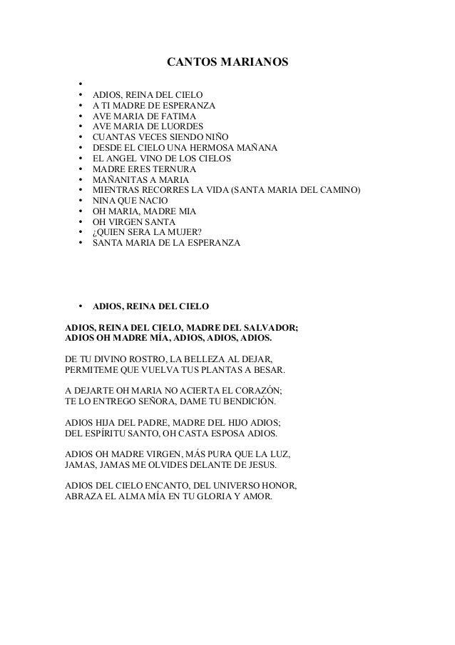 Cantos marianos for Cancion adios jardin querido