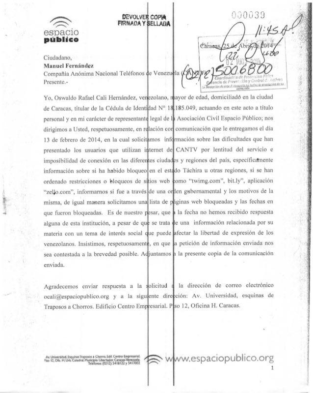 OEVOiVE FIRMADA COPW Y SELLADA espacio público Ciudadano, Manuel Fernández Compañía Anónima Nacional Teléfonos Presente.- ...