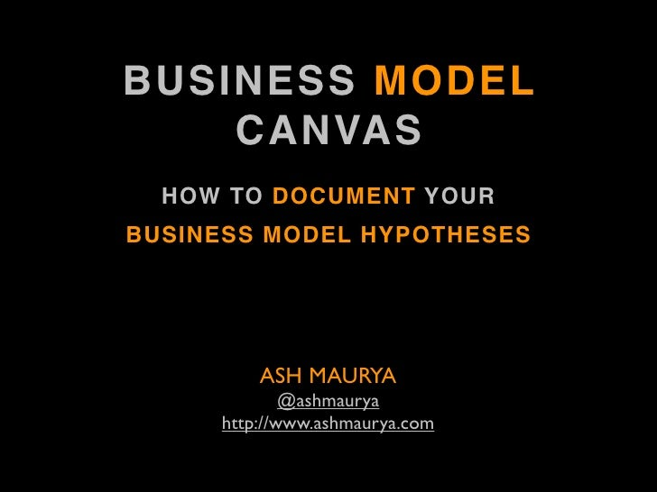 BUSINESS MODEL     CANVAS   HOW TO DOCUMENT YOUR BUSINESS MODEL HYPOTHESES              ASH MAURYA              @ashmaurya...