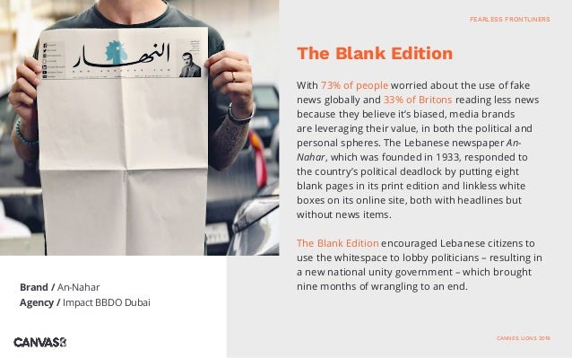 Brand / An-Nahar Agency / Impact BBDO Dubai With 73% of people worried about the use of fake news globally and 33% of Brit...