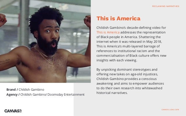 Childish Gambino's decade-defining video for This is America addresses the representation of Black people in America. Shat...